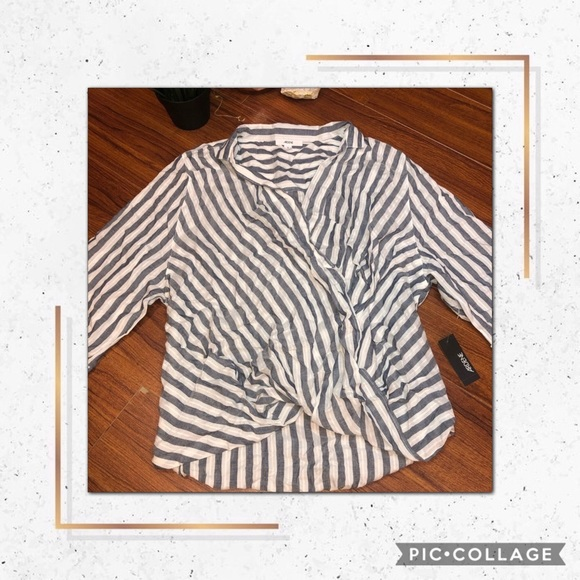 ✨2/$30✨ NEW STRIPED CROSS OVER FRONT BLOUSE ✨
